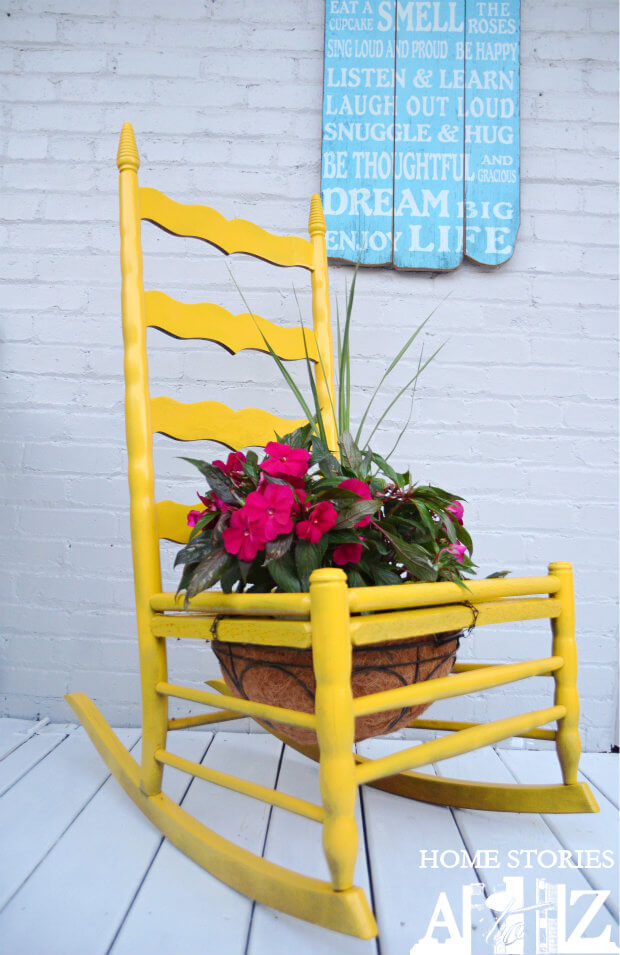 Brightly Painted Rocking Chair Planter