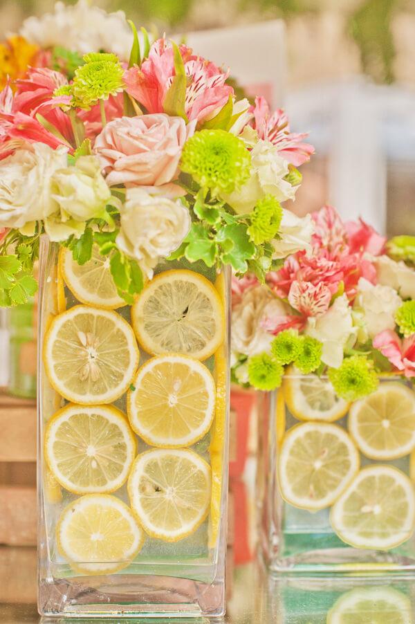 Sliced Lemon Floral Centerpiece Arrangement