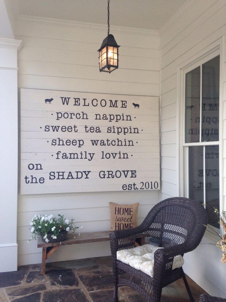 Quaint Quirky Porch Welcome Sign