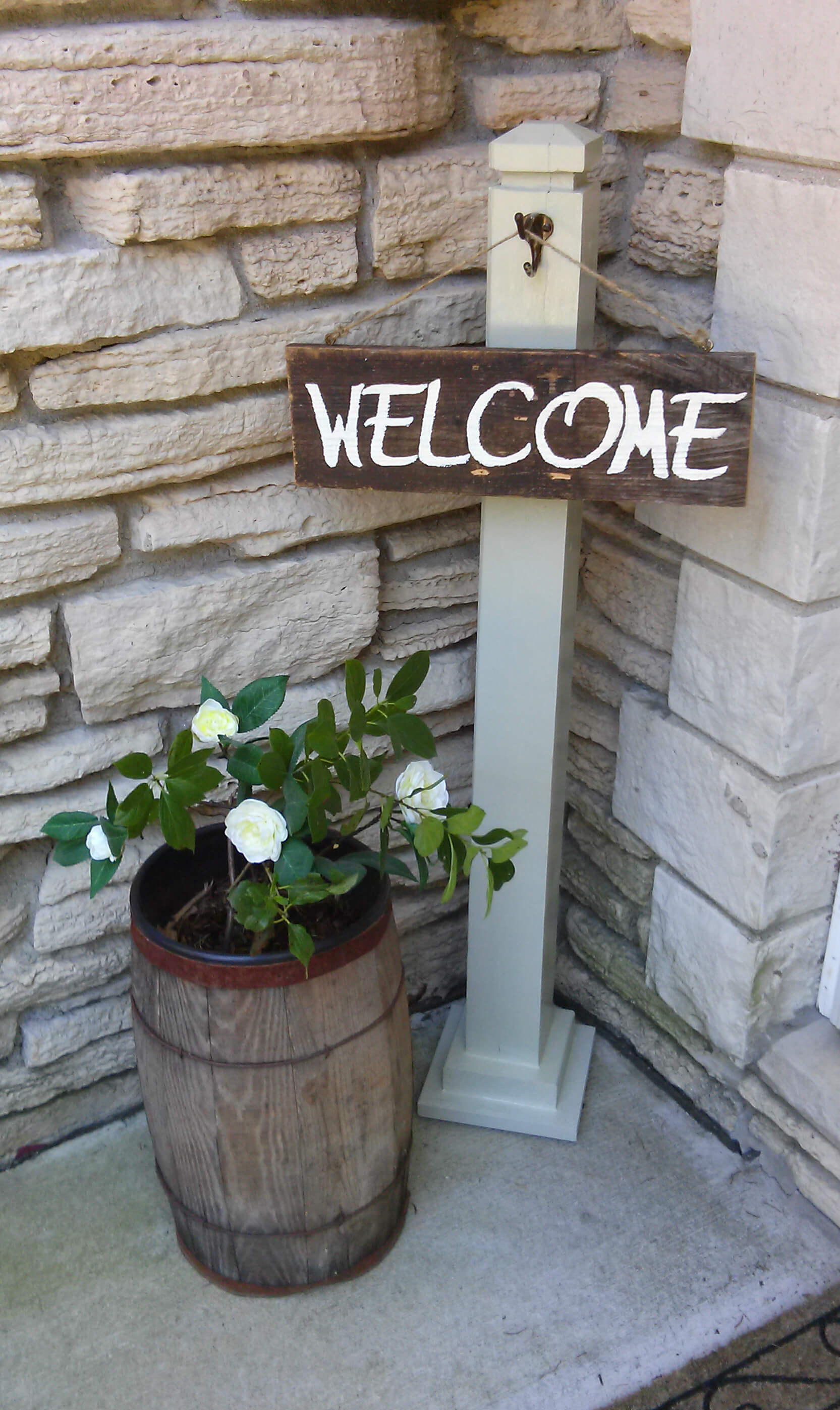 Hanging Entryway Sign and Planted Gardenia