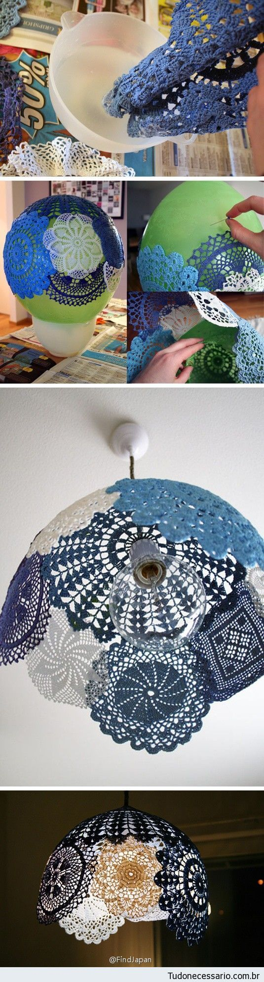 Eclectically Colored Doily Lampshade