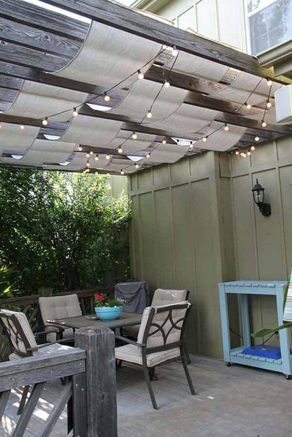 Charming Hanging Shade Cloth And Outdoor Lighting Combo