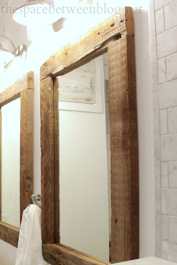 Rustic and Reclaimed Wooden Mirror Frame
