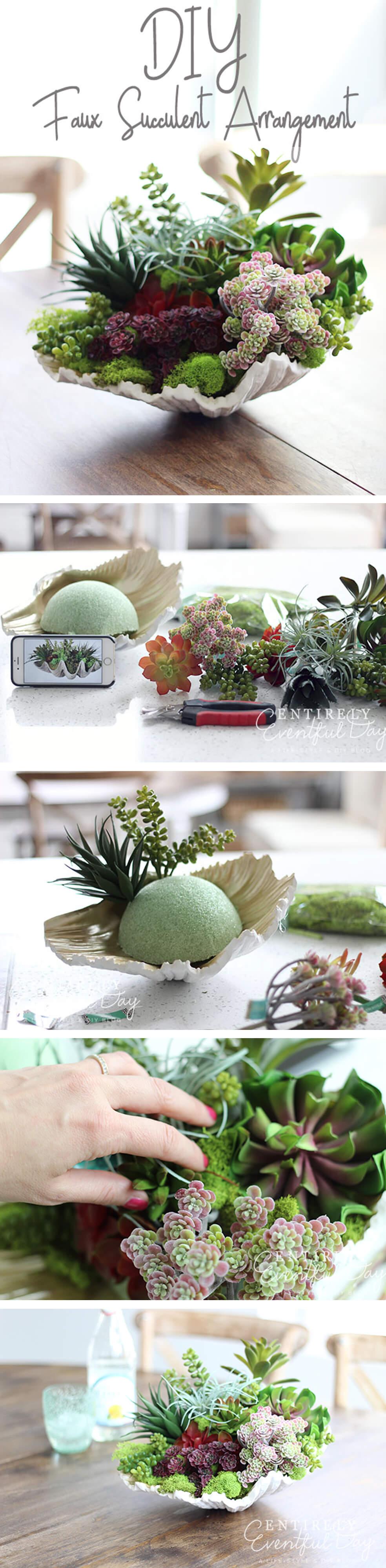 A Small Succulent Arrangement in a Seashell