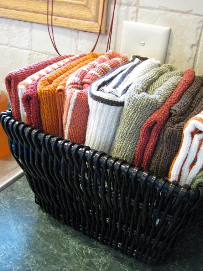 """Folded Towel """"Laundry"""" Basket"""