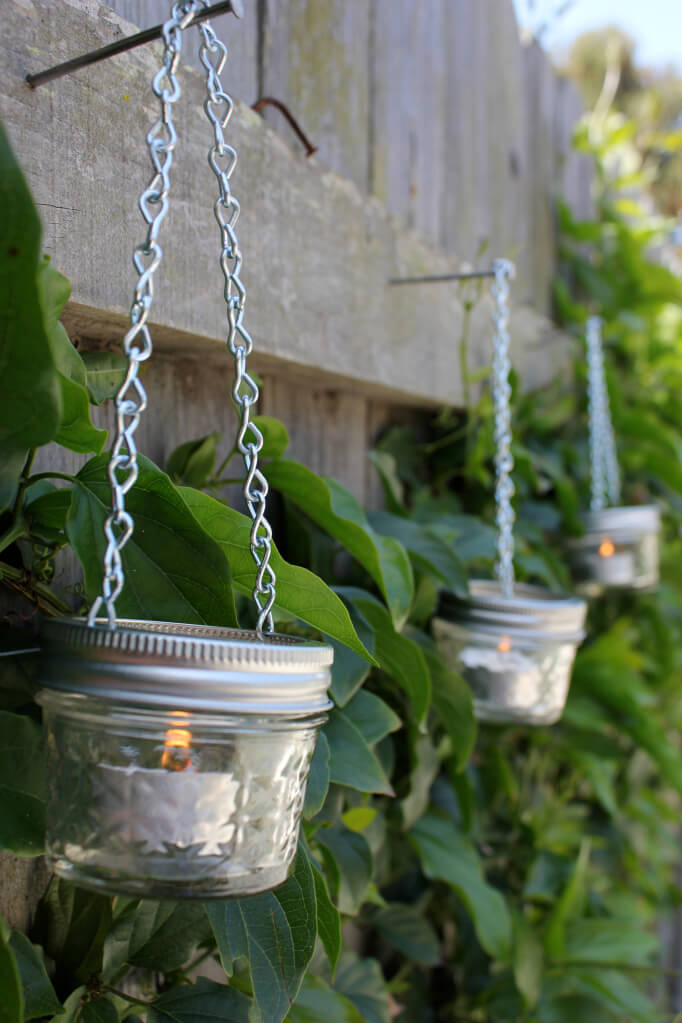 Hanging Jam Jar and Tea Light