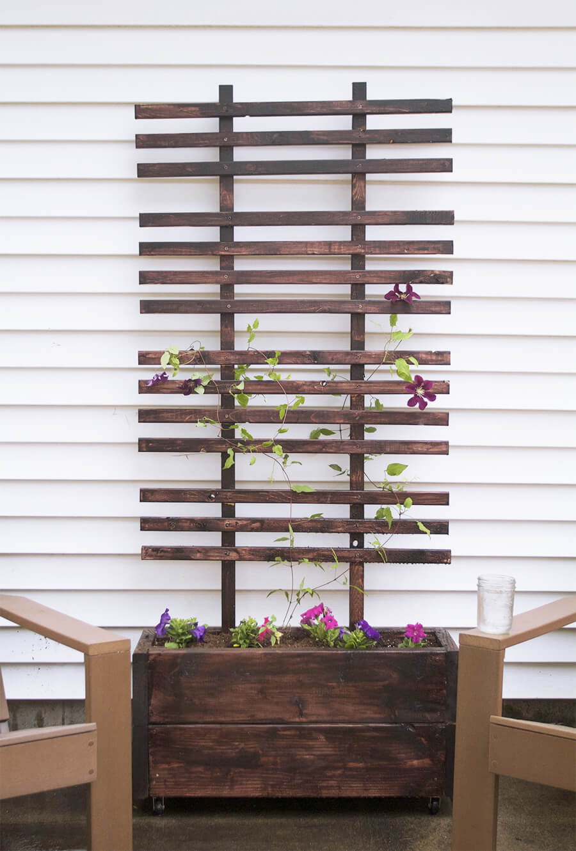 Wood Flower Planter and Matching Trellis