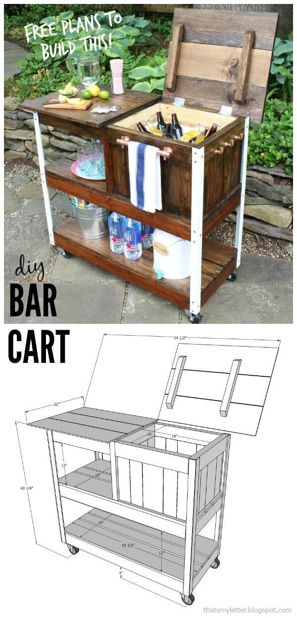 diy wood bar. A Wooden Bar Cart With Storage Galore 32 Best DIY Outdoor Ideas And Designs For 2018