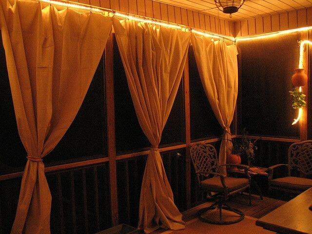 Creative Lighting with Curtains for Outdoor Elegance