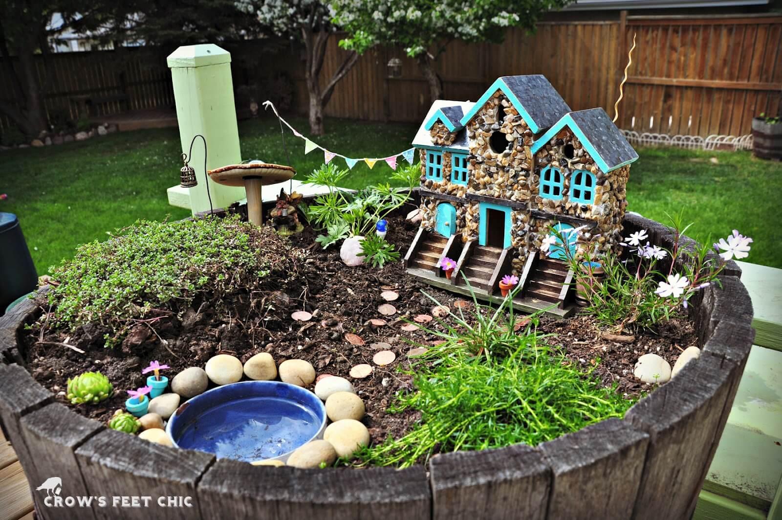 Vino Barrel Fairy Garden