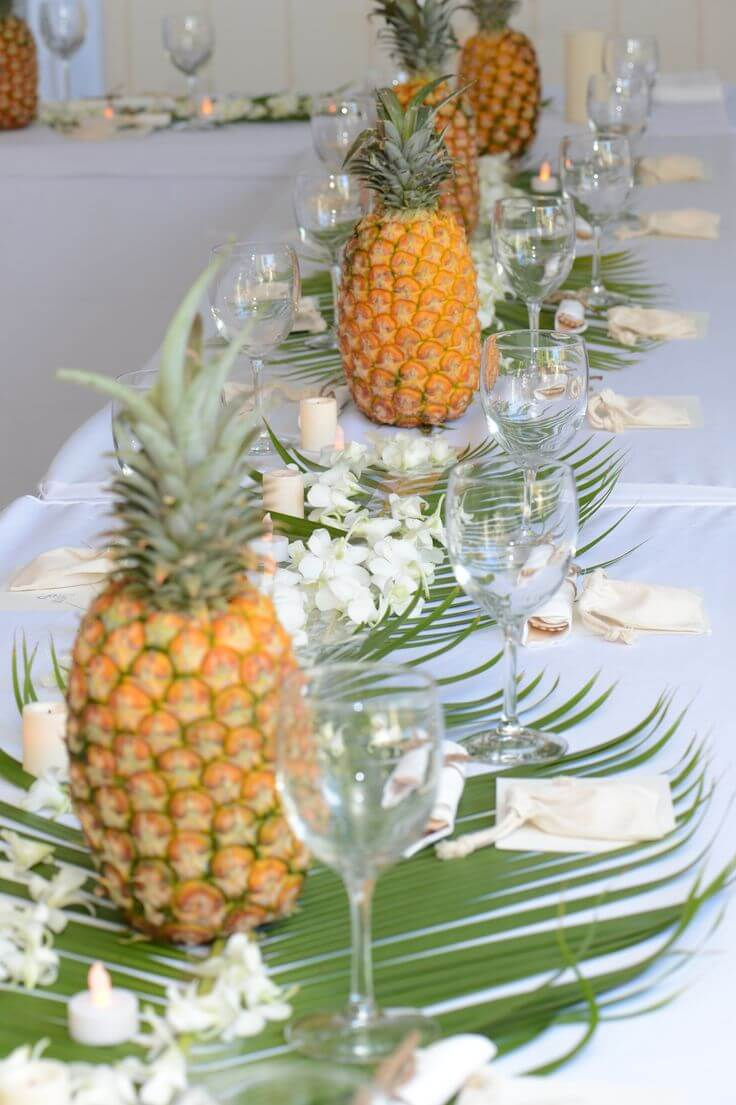 Luau Themed Pretty Pineapples and Palms Table Decorations