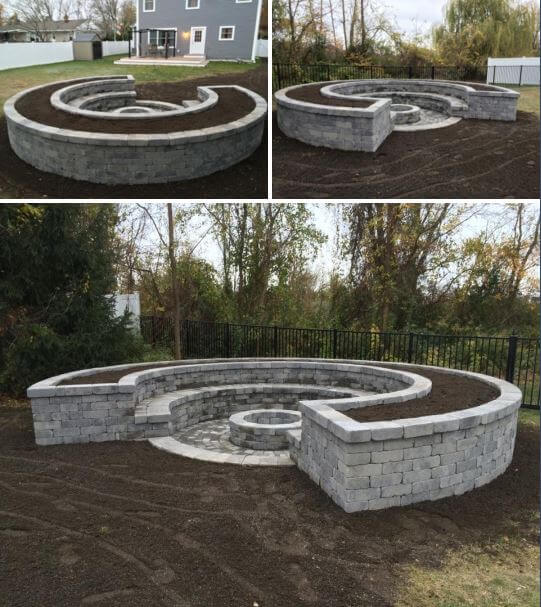 Crescent-Shaped Firepit Made from White Brick