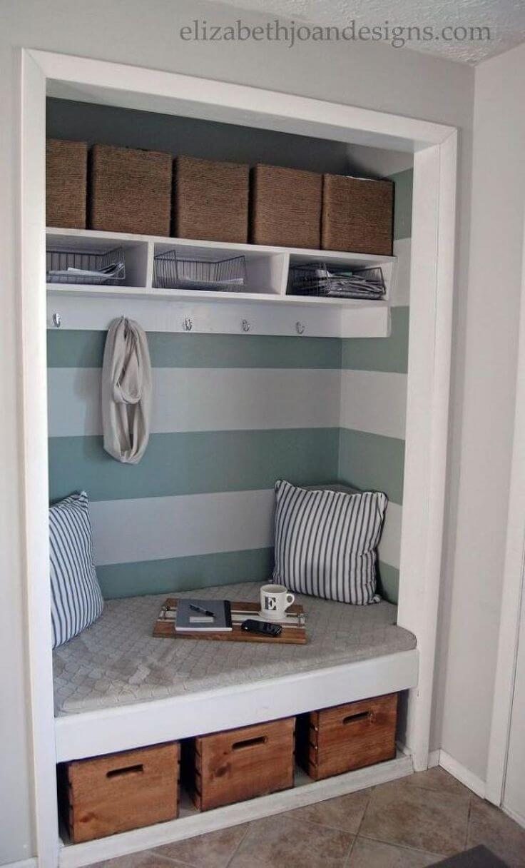 Clever Coat Closet to Entryway Bench Project