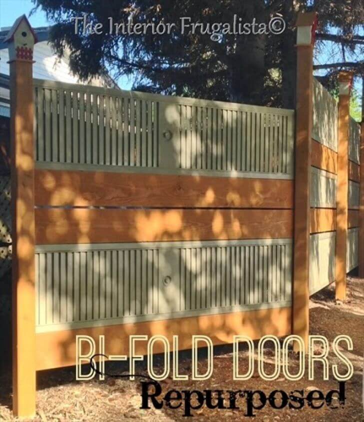 Repurposed Bi-Fold Door and Plank Fence
