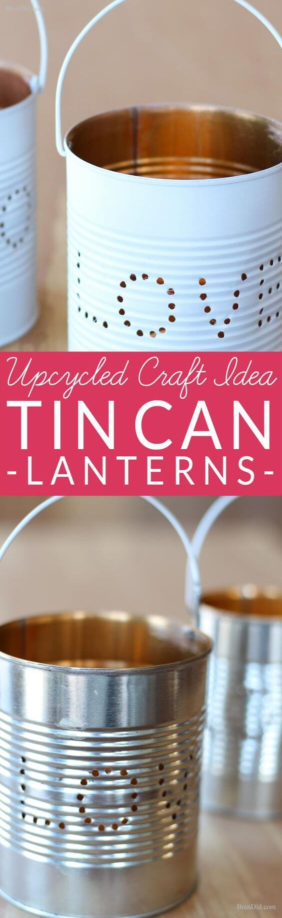 Upcycled Punch Pattern Tin Can Lanterns
