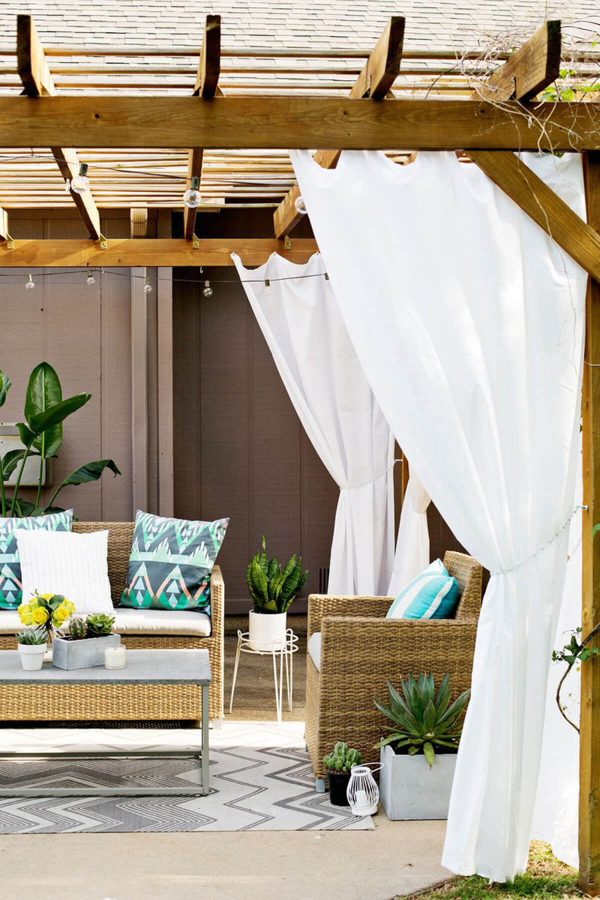 Relaxing Pergola Sitting Space with Shade Curtains