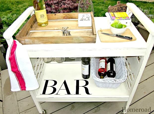 Upcycled Wooden Outdoor Bar Cart