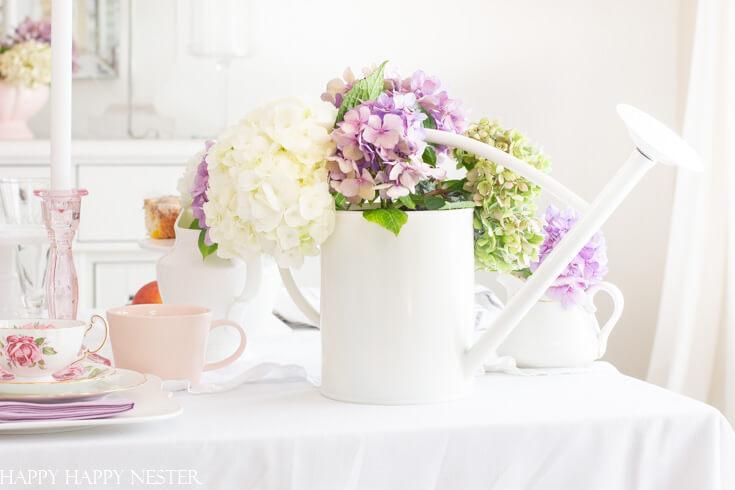 Hydrangeas Watering Can Vase Décor
