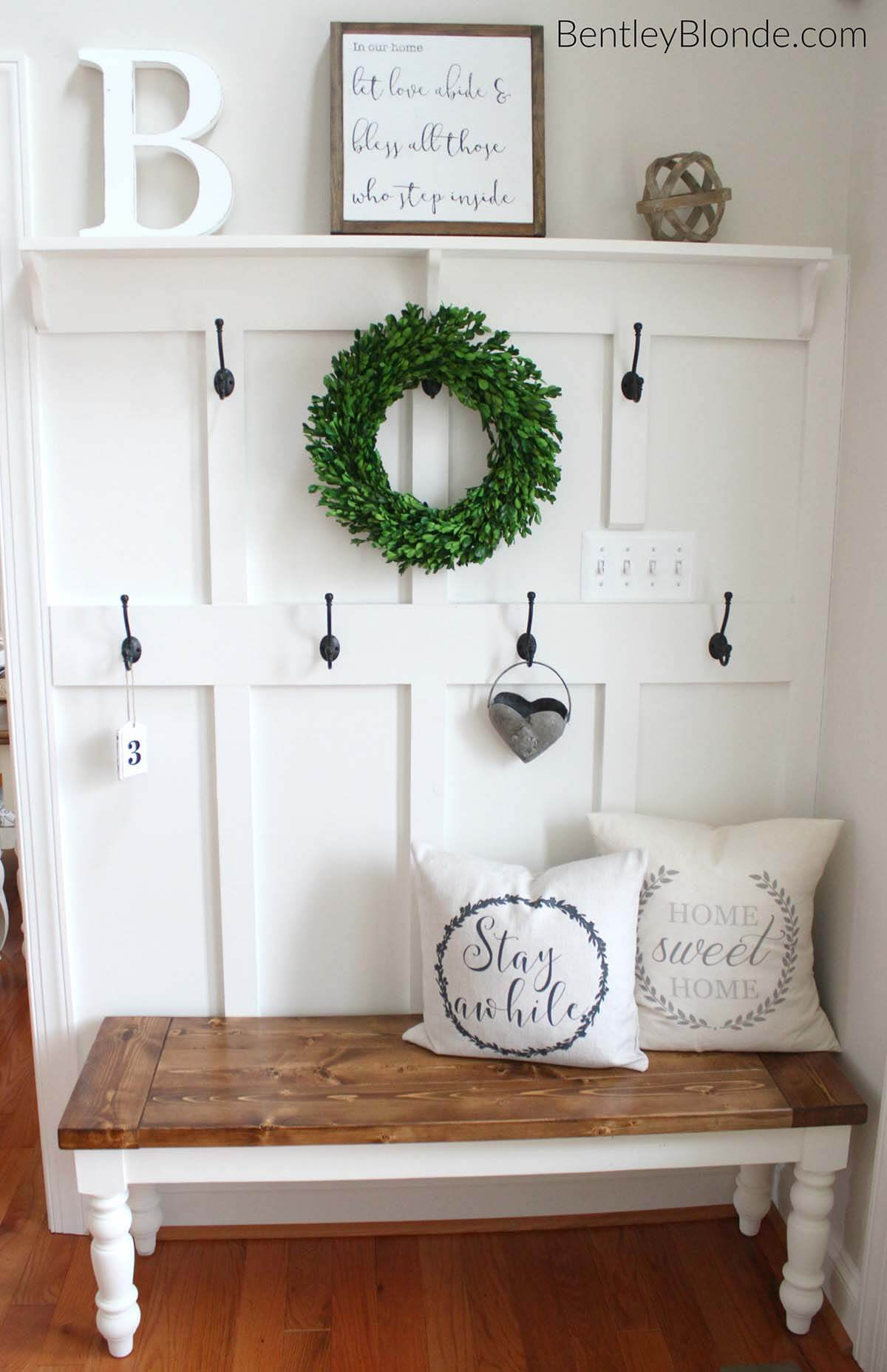 25 best diy entryway bench projects ideas and designs for Foyer storage ideas