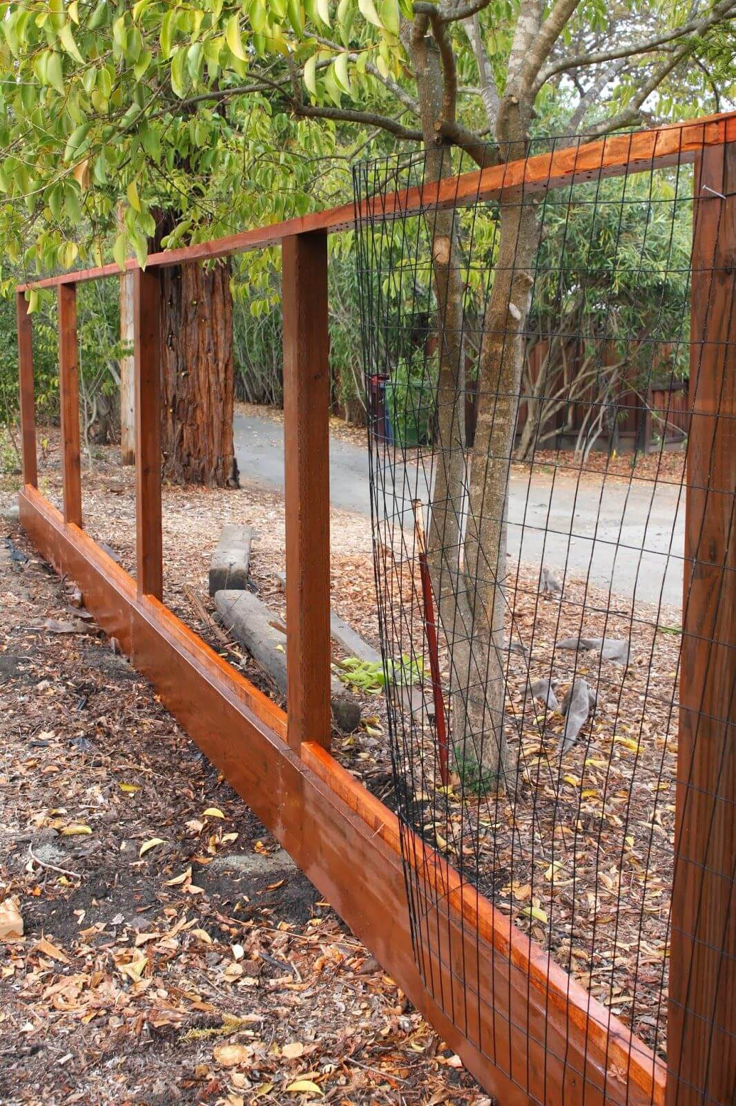 Wood and Welded Wire Panel Fence