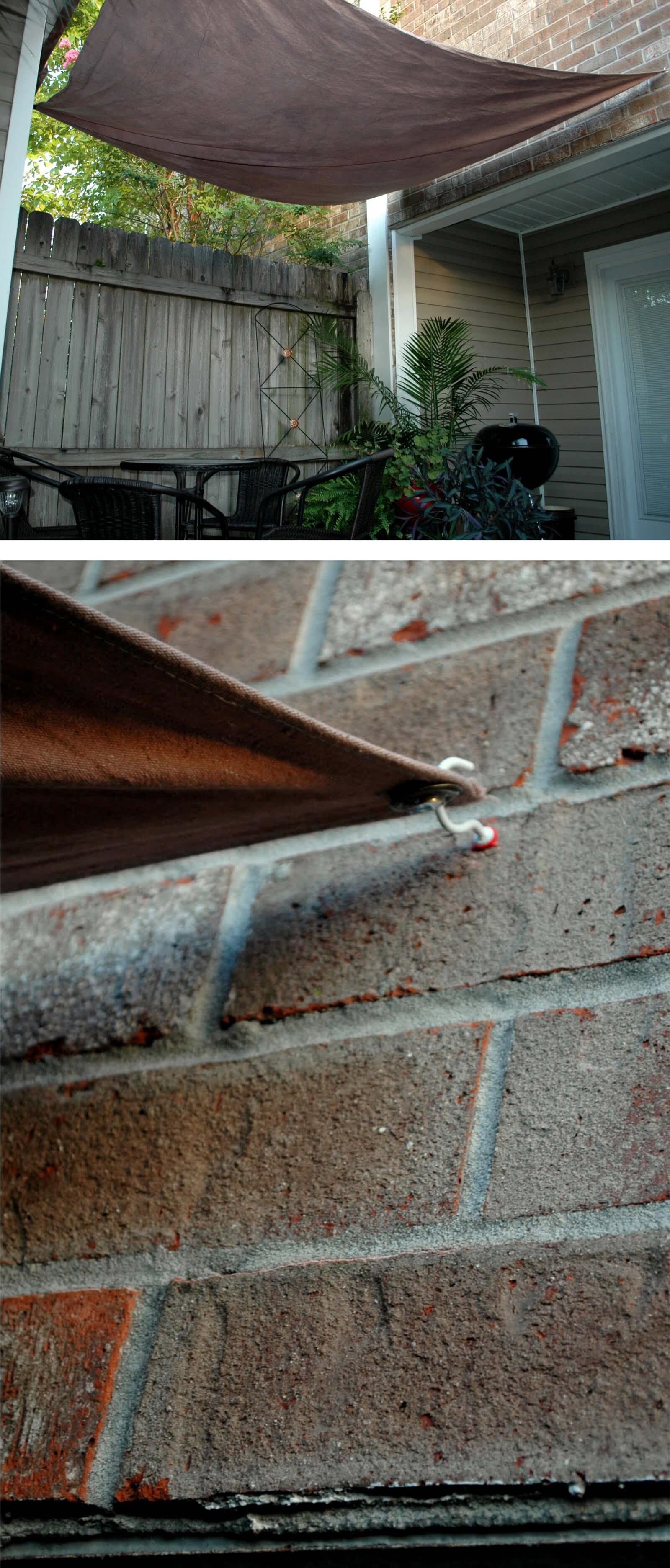 Wall-Anchored DIY Backyard Sun Shade Ideas