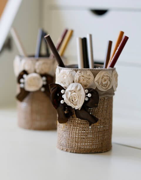 Pastoral Poet's Burlap Wrapped Pencil Holders