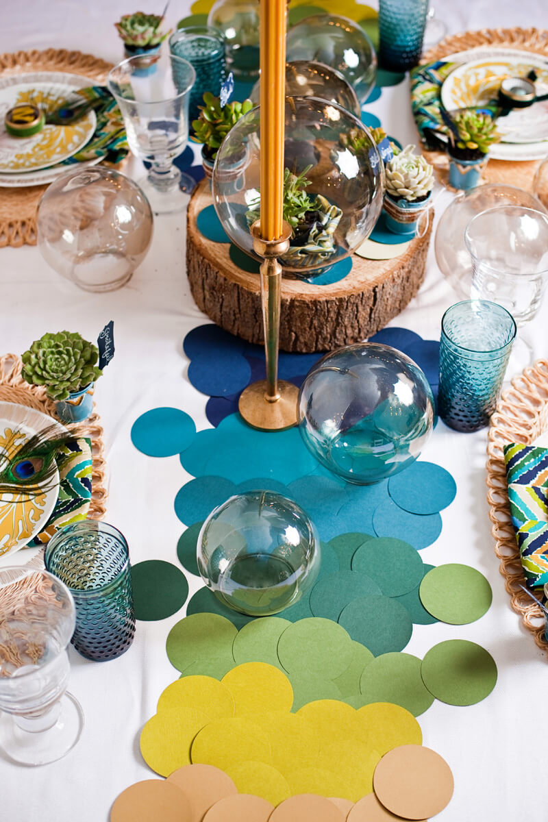 Enchanting Peacock Inspired Table Decor with Succulents