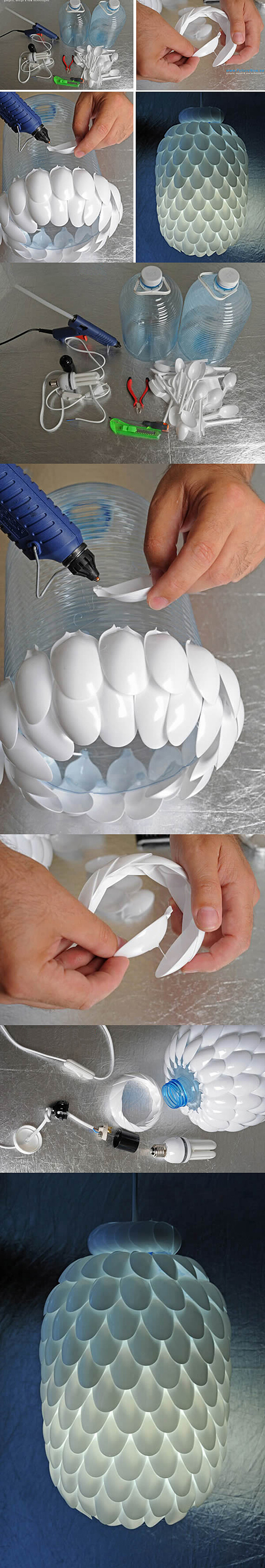 Recycled and Crafty Spoon-Scaled Lampshade