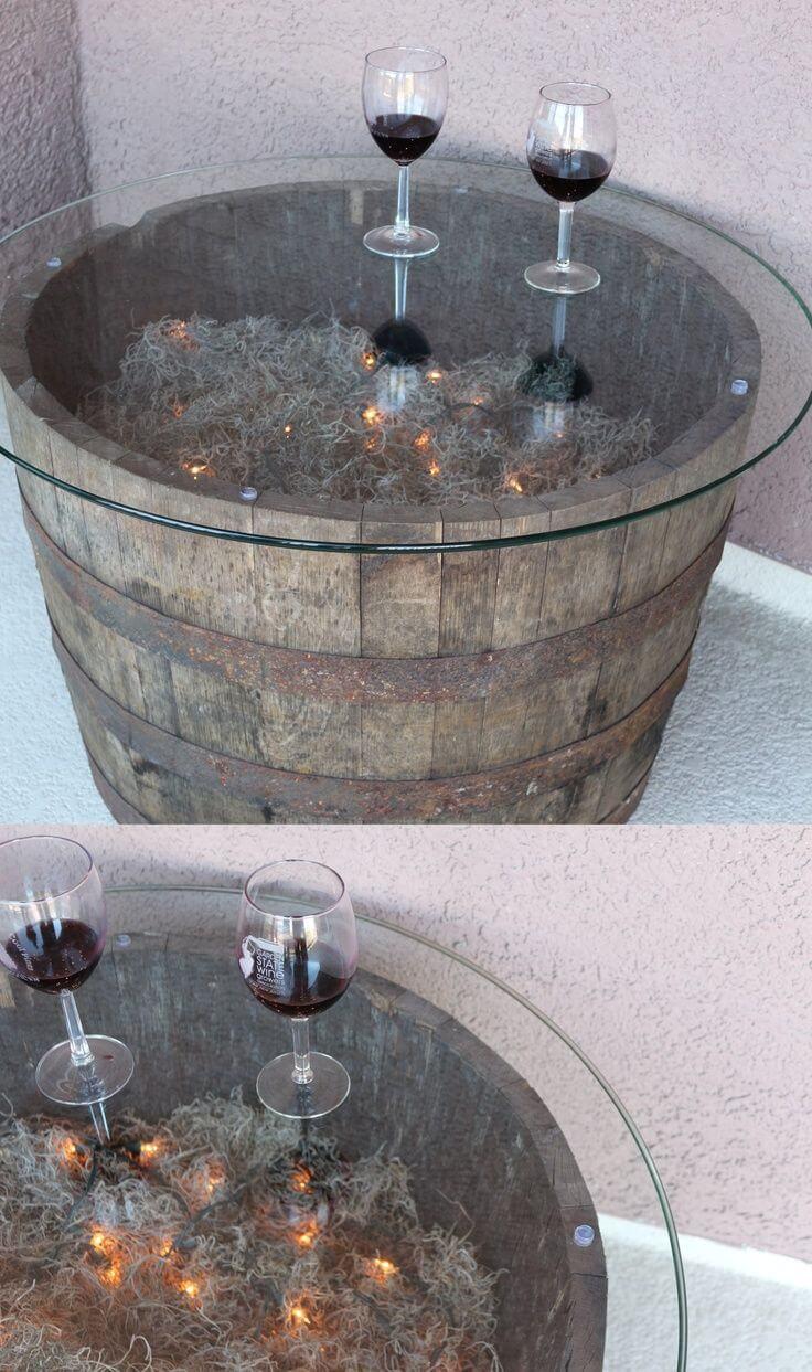 Taster's Table Glass Top Barrel