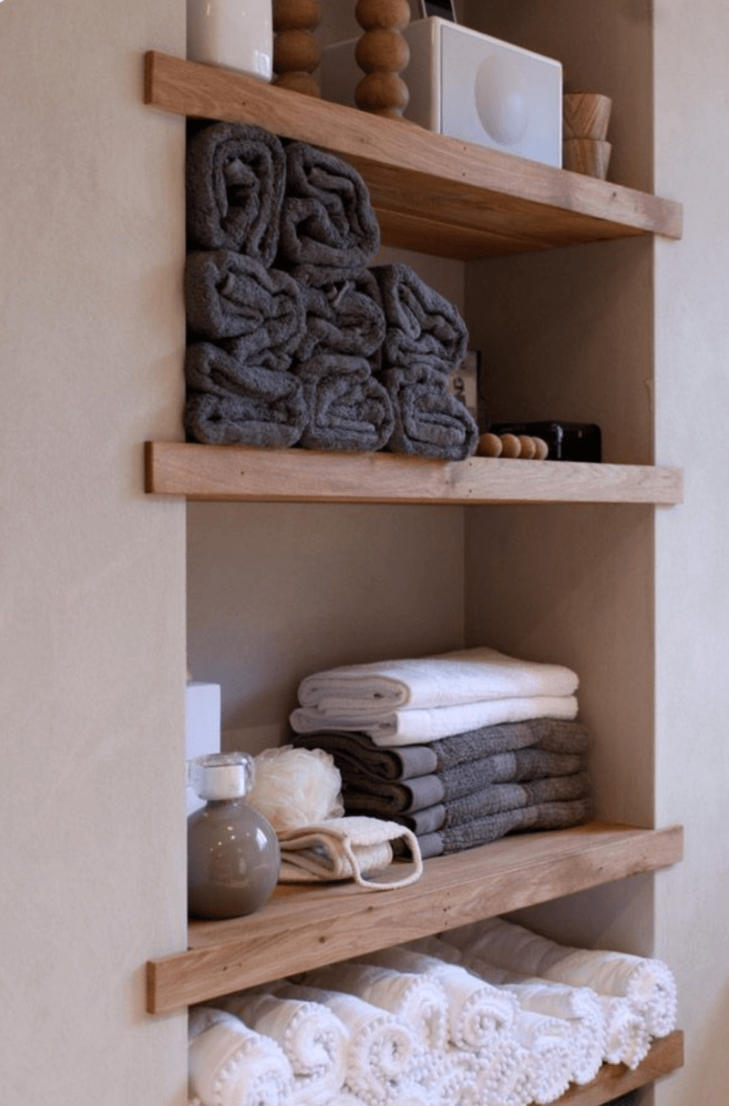 Simple Shelving Towel Storage Ideas