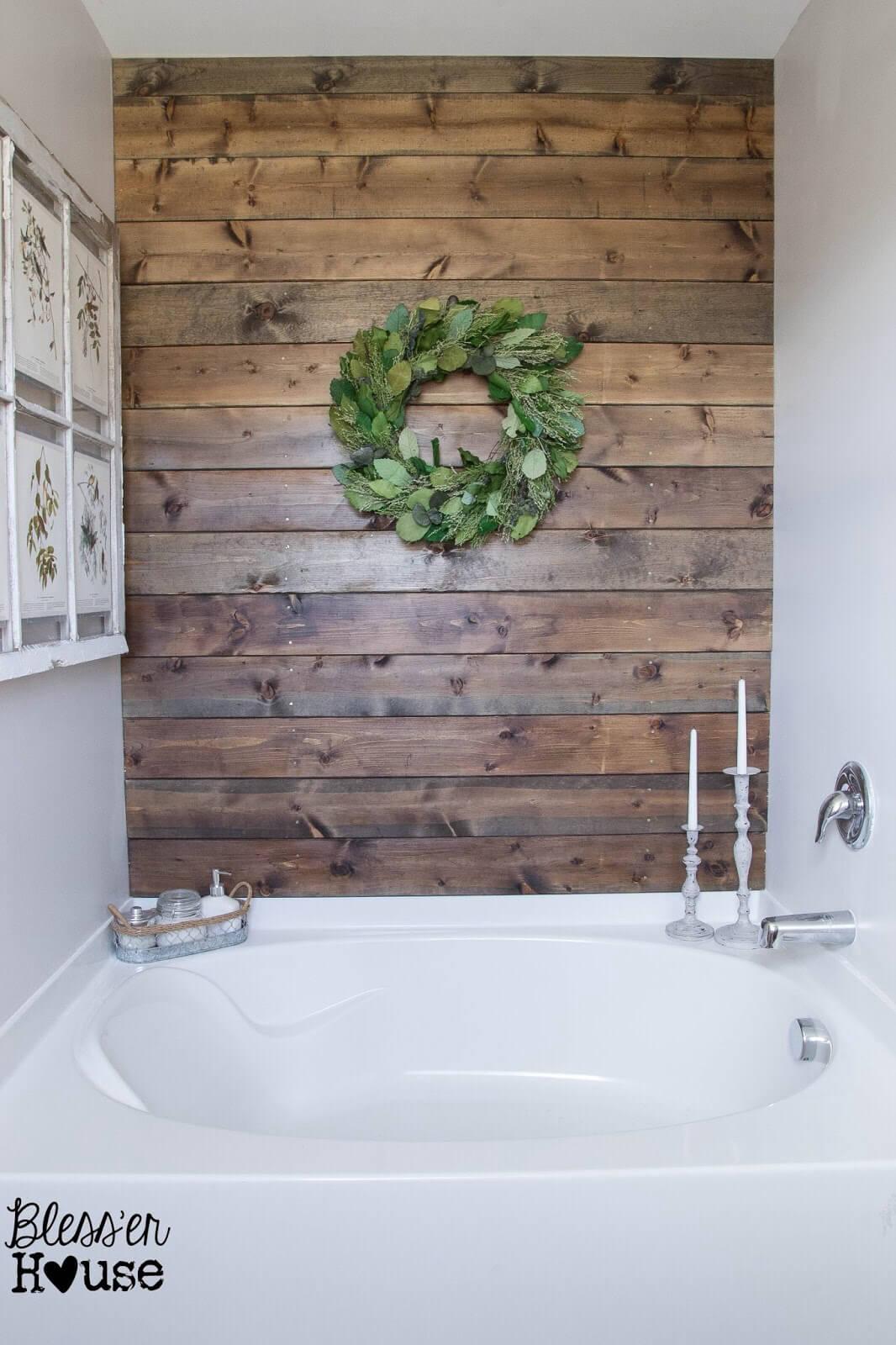 Sleek and Shiny Bathroom Wooden Wall