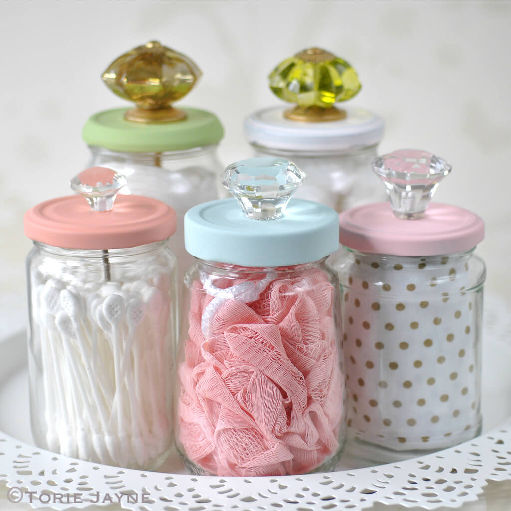Sweet Vanities Knob-Topped Toiletry Jars