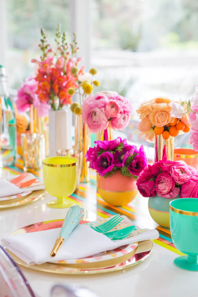 Vibrant Colored Vases with a Hint of Gold Table Decorations