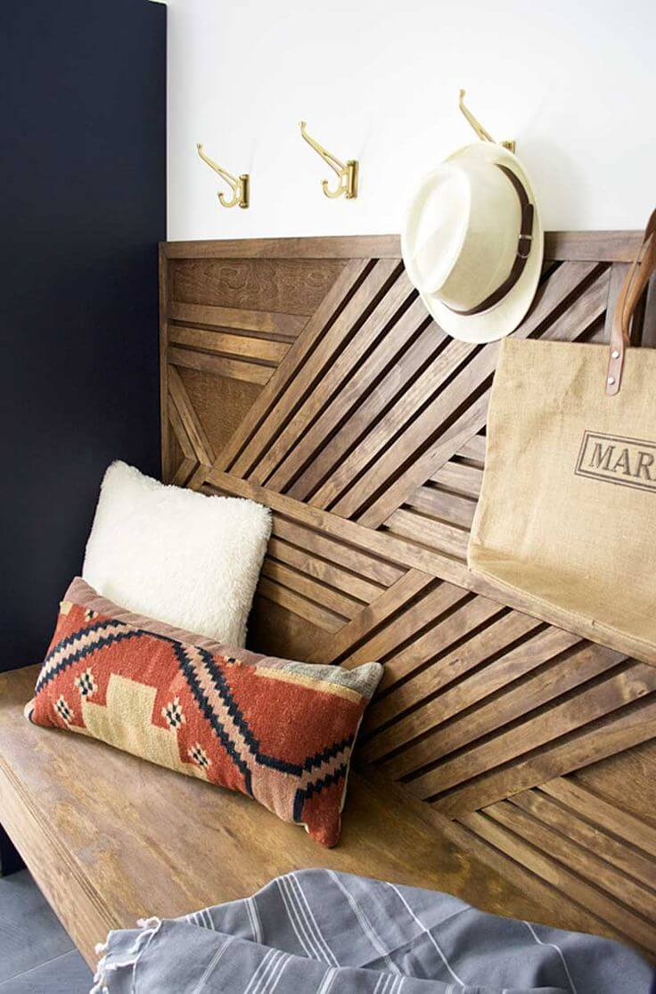 Lovely Geometric Wooden Bench and Coat Hooks