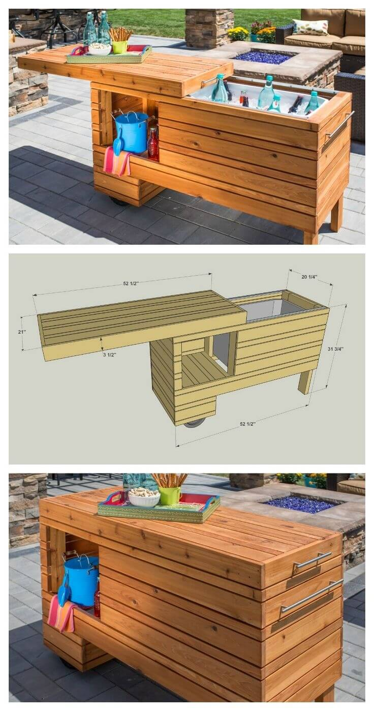 diy bar. DIY Bar Idea with a Sliding Lid 32 Best Outdoor Ideas and Designs for 2018