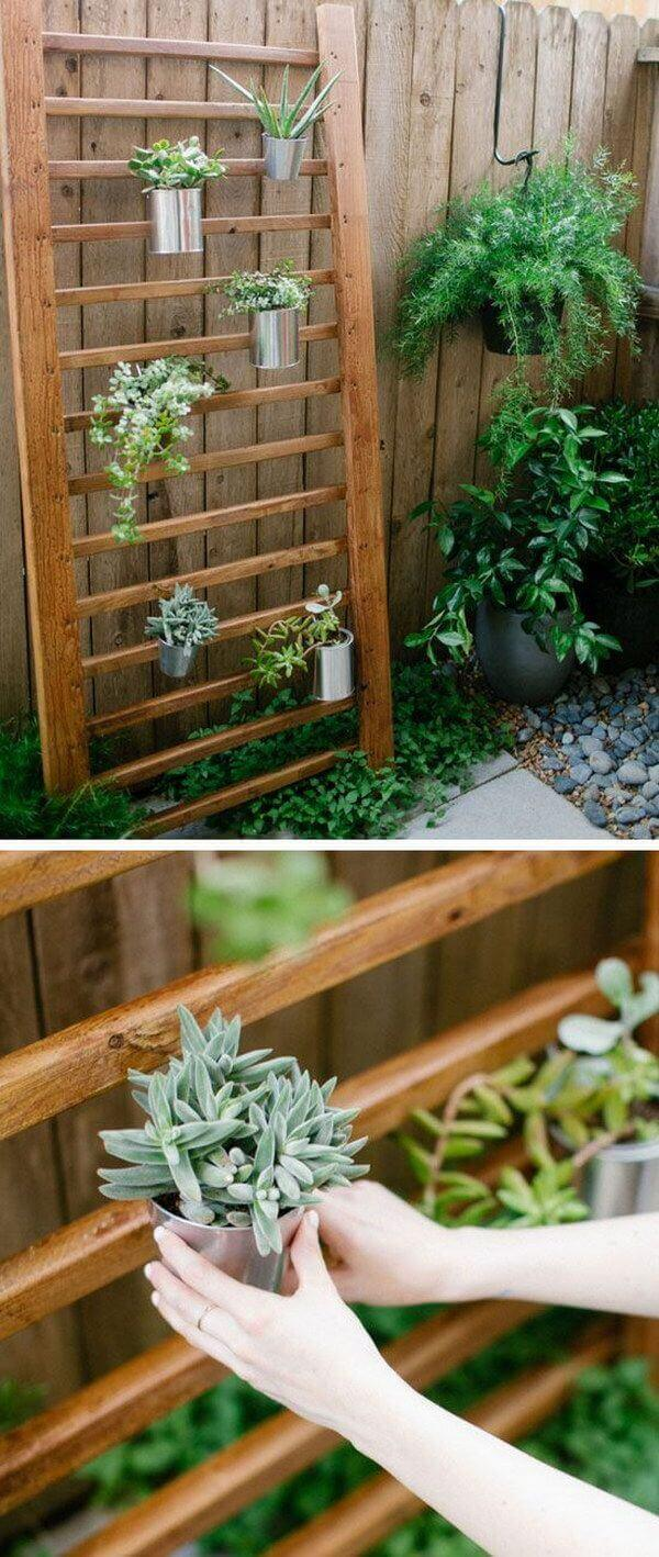 Modern Wooden Planting Wall with Metal Pots