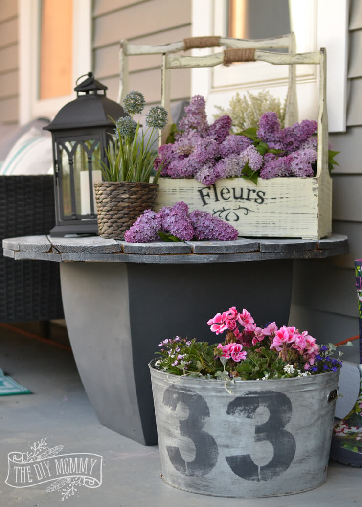 Shades Of (Rustic) Gray Repurposed Table & Planters
