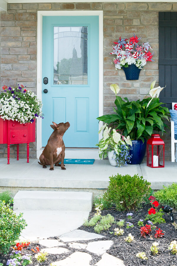 Colorful Contemporary Porch with Creative Planters