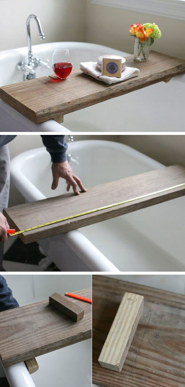 Practically Poised Reclaimed Wooden Bath Tub Tray
