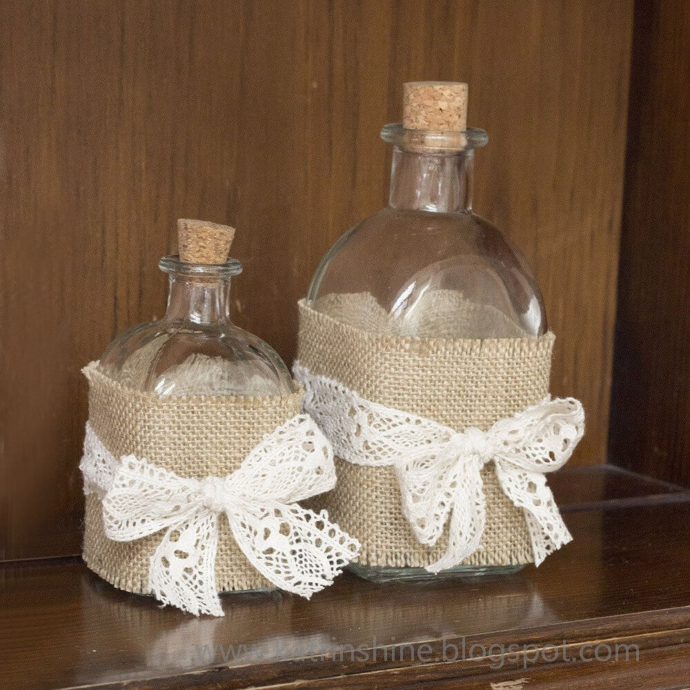 Country Conveniences Burlap Wrapped Bottles