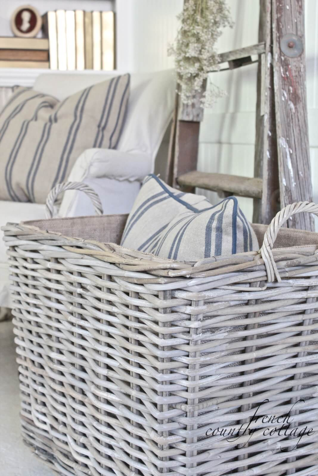 Simple White Wicker Storage Basket