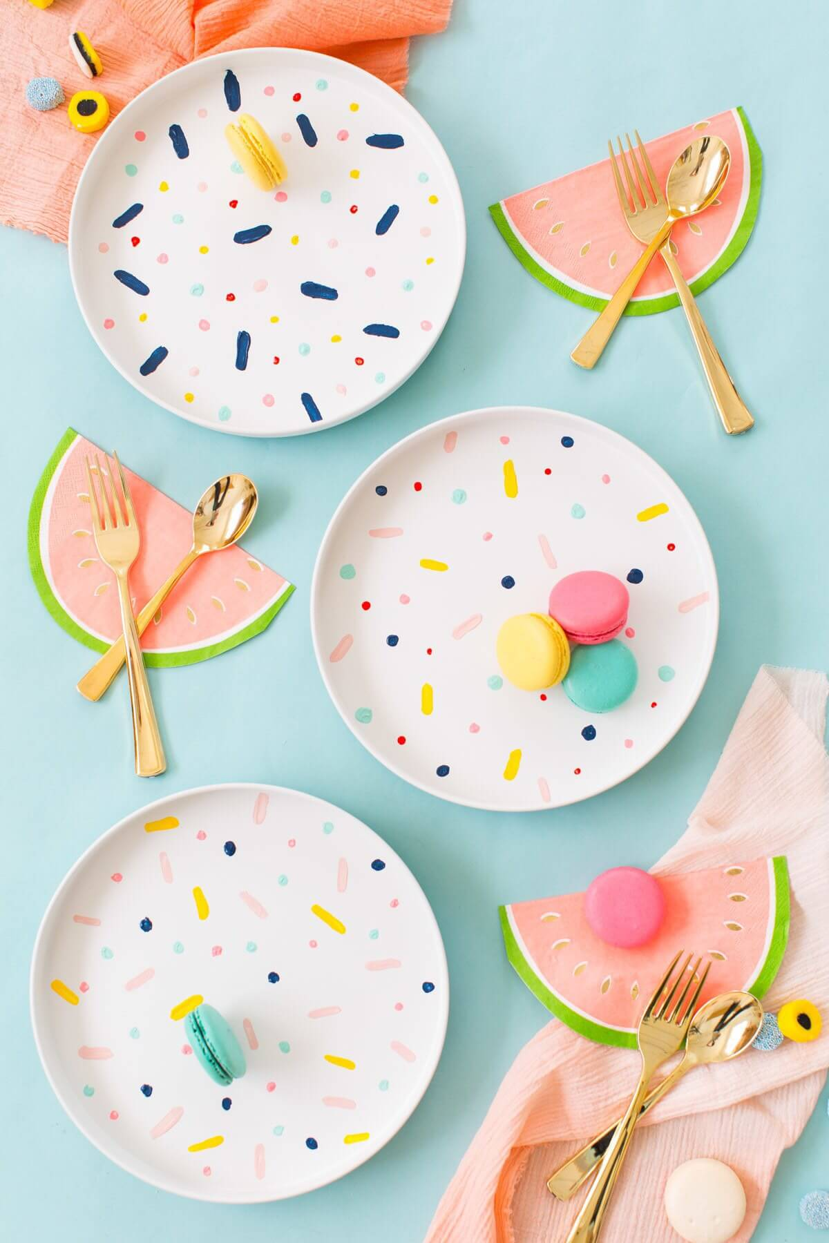 Fun and Festive Watermelons and Macaroons Table Decor
