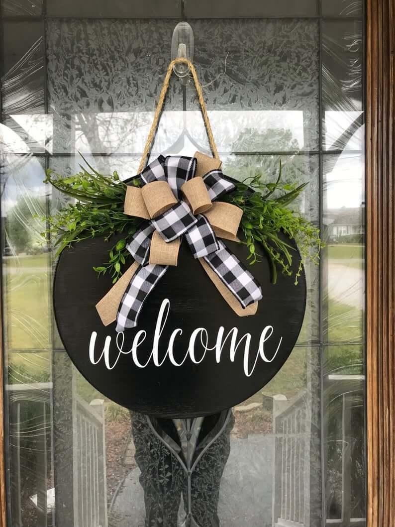 Seasonal Hanging Wooden Door Wreath
