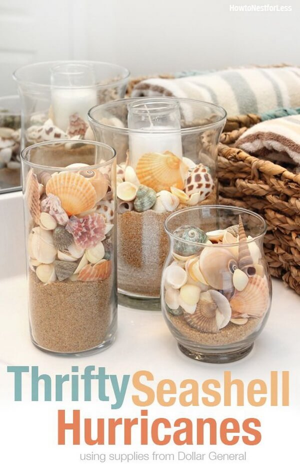 Glass Vases Filled with Beach Inspirations