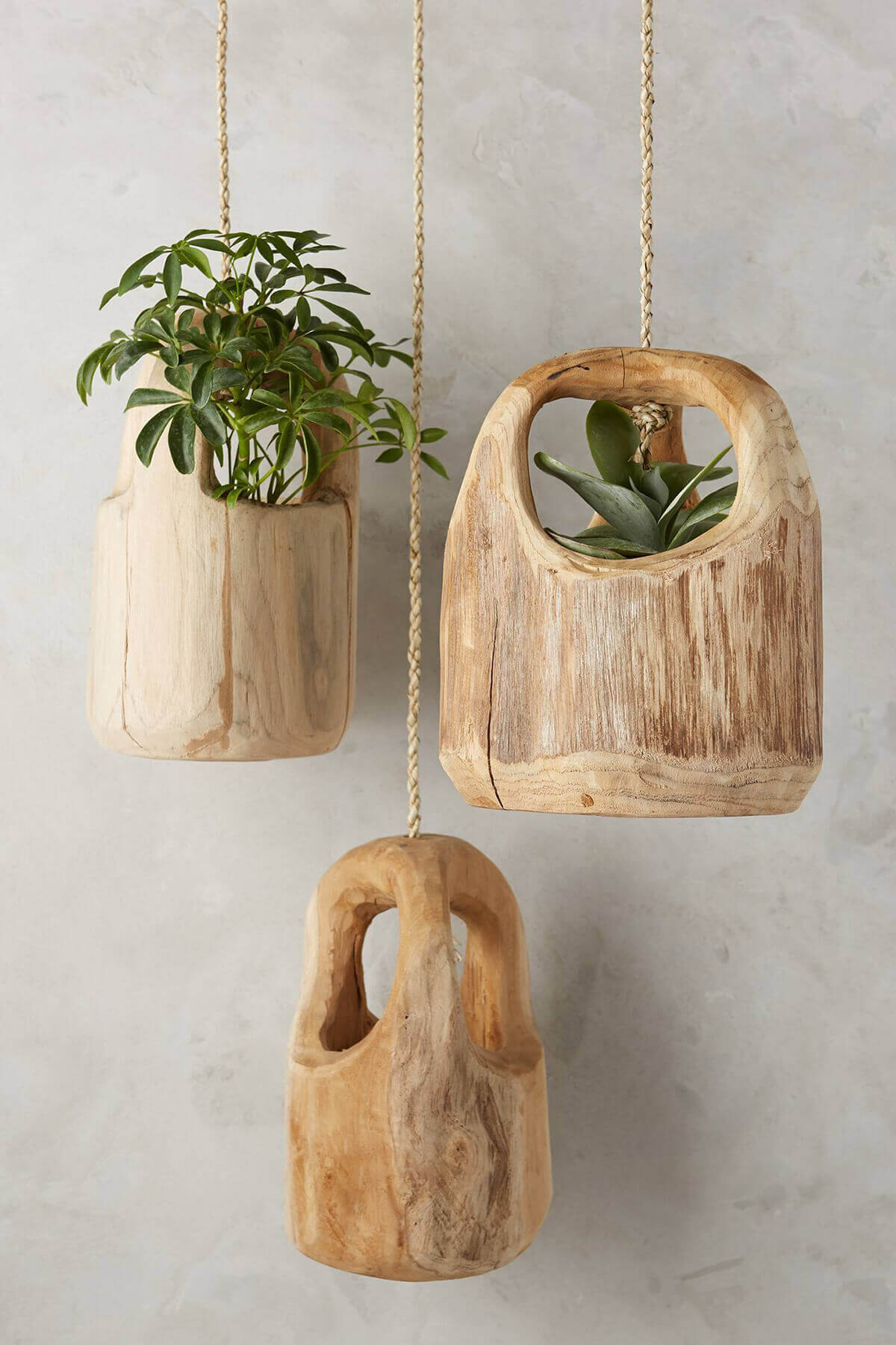 Hanging Planters Part - 33: Rustic Carved Wooden Hanging Planters