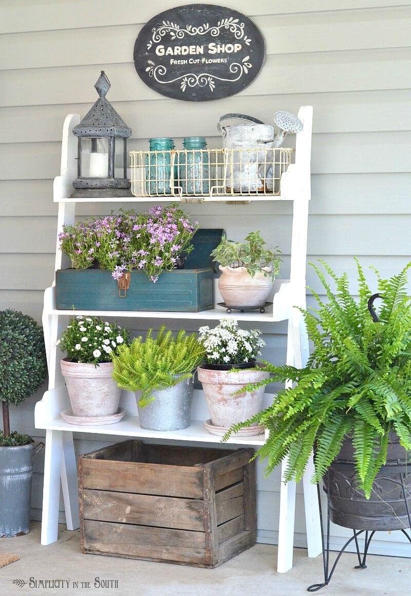 Sweet Potting Bench Planter Display