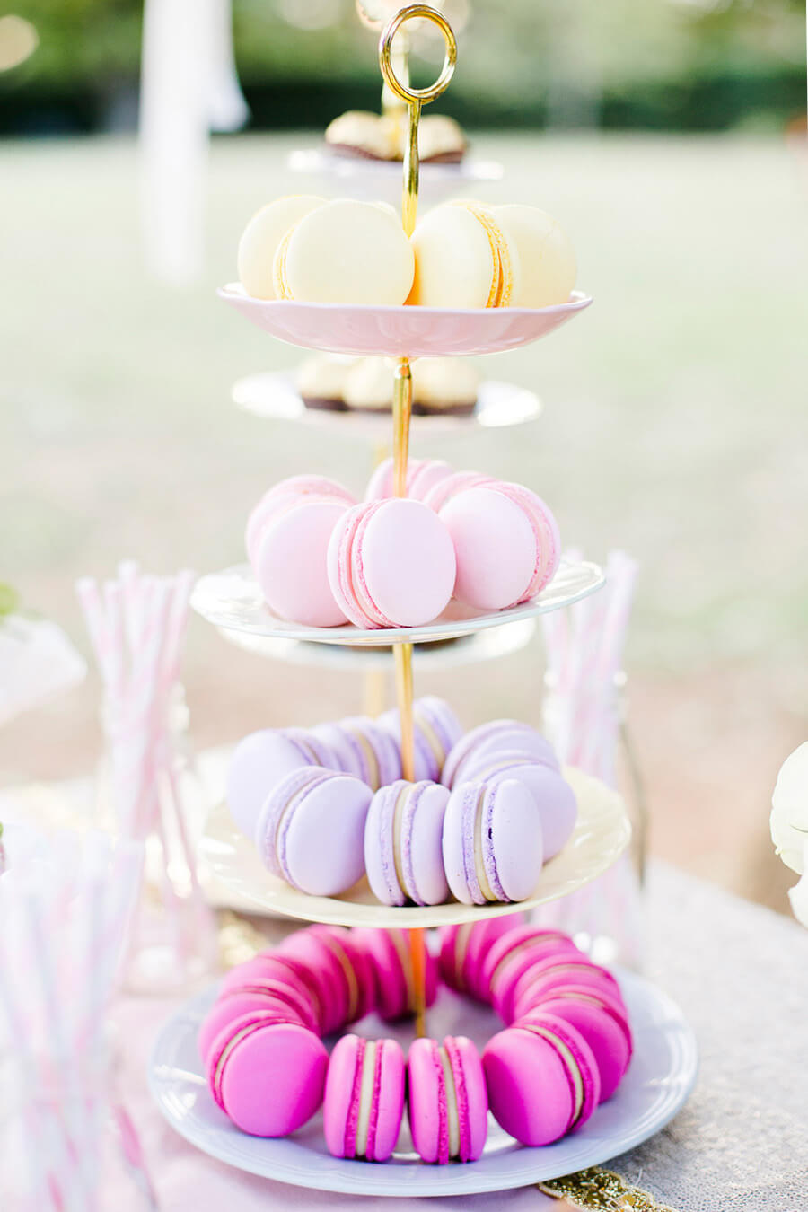 Dainty Tiered Plate with Macaroons Table Decor