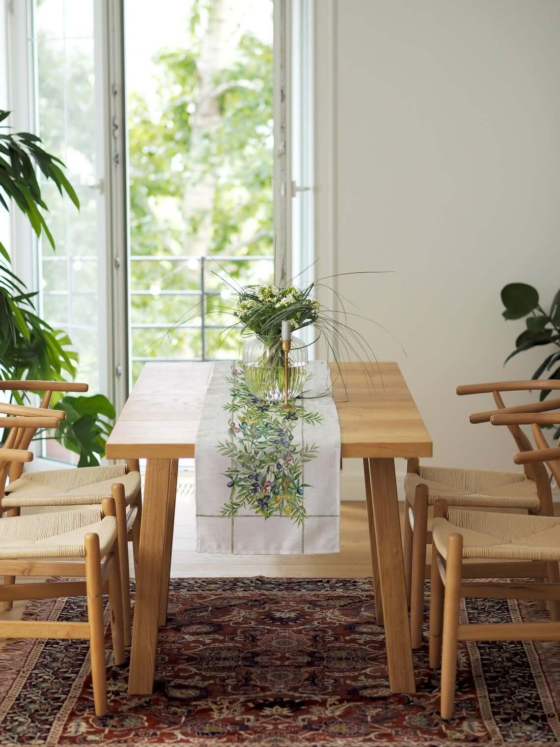 Olive-Themed Artwork Farmhouse Table Runner