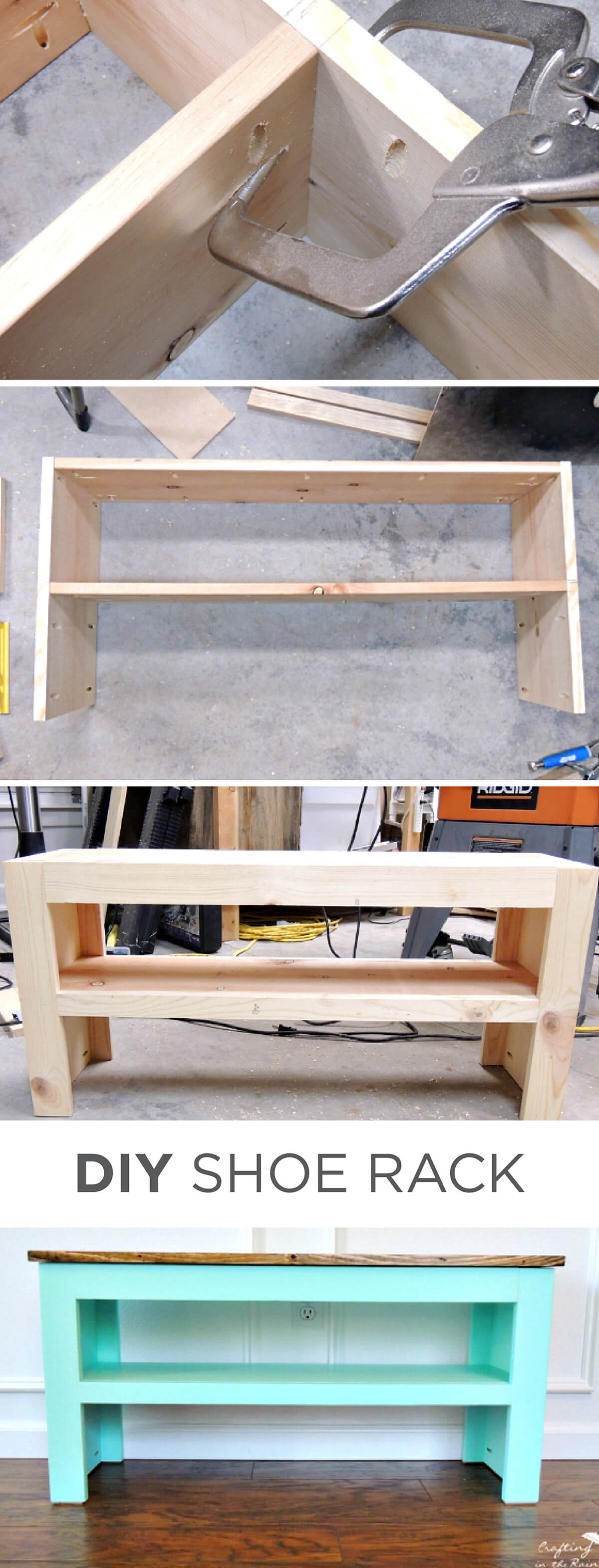 DIY Entryway Shoe Rach and Bench