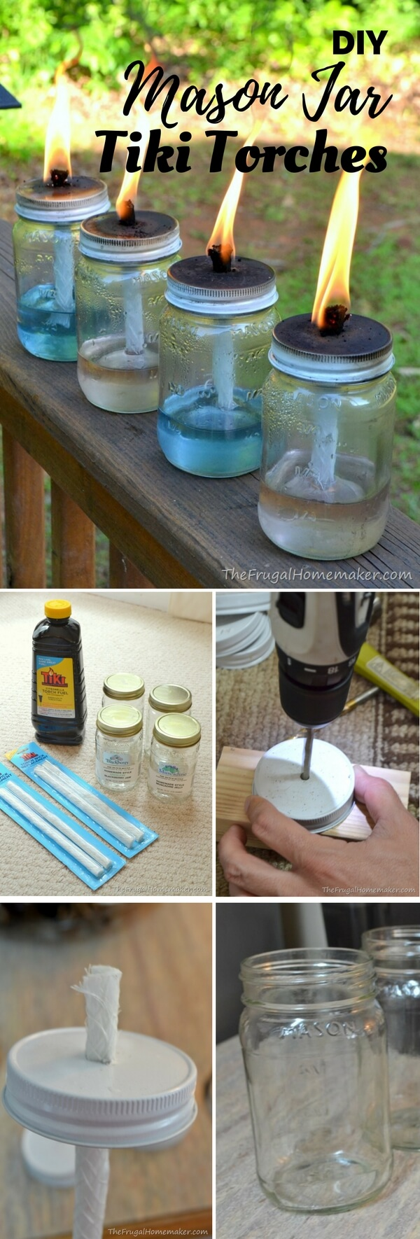 Simple Handmade Mason Jar Torches